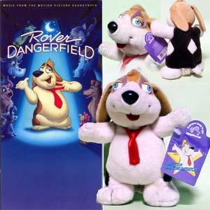 『ローバー・デンジャーフィールド/Rover Dangerfield』 左:CDトールパッケージ、右:ぬいぐるみ(アプローズ製)