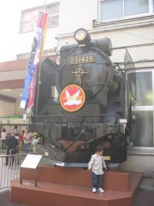 交通博物館の入り口横のデゴイチ