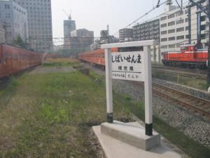 旧万世橋駅のホーム横を中央線が駆け抜ける