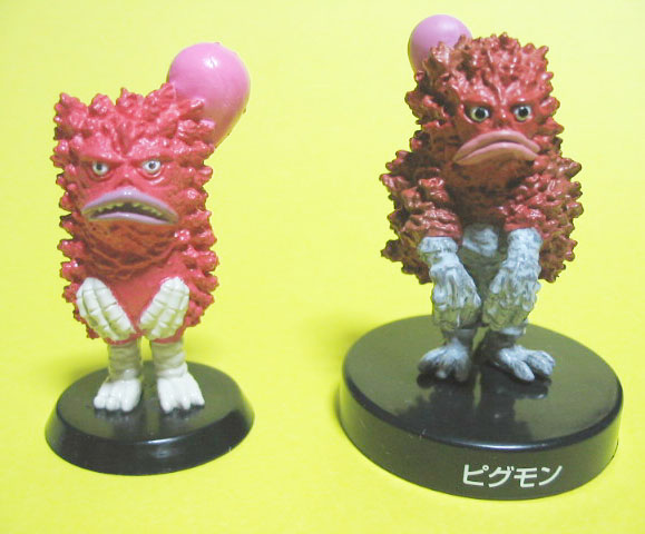 左:「ピグモン」(ポピー製2006) 右:「ピグモン」(バンプレスト製/2003)