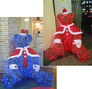 クリスマスディスプレイのサンタ姿のベア/後楽園遊園地