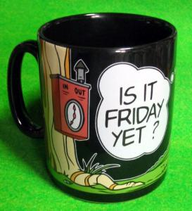 MUG / Sam Sheepdog and Ralph Wolf / balloon / is it Friday yet?