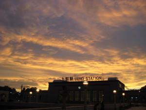 上野駅の夕焼け