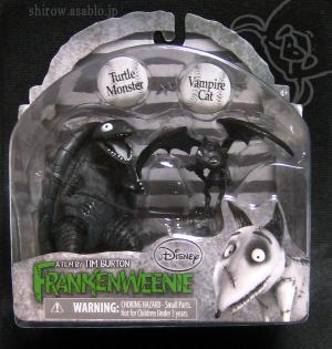 FRANKENWEENIE PVC Mini Figure 2-pack : Turtle Monster & Vampire Cat / by The Bridge Direct,inc