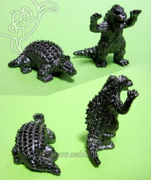 Mini Metal Figurine Godzilla Collection (by TAKARA JAPAN)/ GODZILA and Anguirus