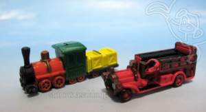 Disney Collector Packs series-1 / Main Street fire truck,  Thunder Mt. Railroad.