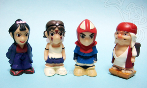 もののけ姫指人形/エボシ御前、サン、アシタカ、ジゴ坊