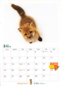 『子ぎつねヘレン』B5カレンダー(劇場配布チラシ)