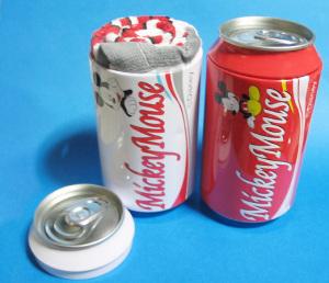 缶ジュース型パッケージ入りタオル