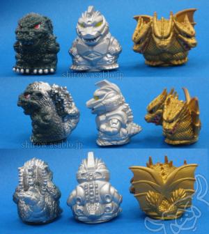 Mini Sofubi kaiju / Godzilla, Mecha-Godzilla, King-Ghidorah (1993-1994/ YUTAKA)